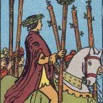 Seis de bastos según el simbolismo de Rider-Waite.