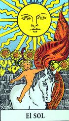 El sol, según el tarot Rider-Waite.