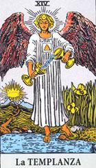 La templanza, según el tarot Rider-Waite.