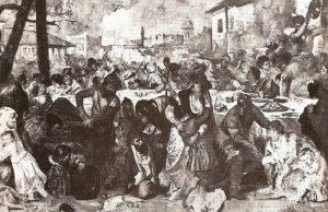 Soldados del príncipe cayendo sobre los nobles boyardos arrastrándolos al lugar donde van a encontrar la muerte.