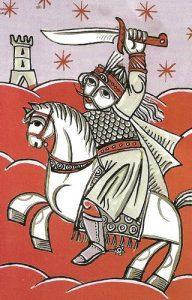 Pintura naif sobre cristal donde Drácula aparece dispuesto a librar una heroica batalla contra los turcos.