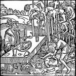 Vlad Tepes desayunando ante unos empalados en un grabado alemán de 1499. En sus inhumanas orgías de sangre, la altitud de la estaca indicaba el rango que la víctima había tenido en vida. Cuando le apetecía también vigilaba que ningún órgano vital del martirizado fuera dañado al insertar la madera por tal de que este pudiera sobrevivir más tiempo, a veces hasta cerca de una semana, a base sólo de agua y así estirar su aflicción y tormento.