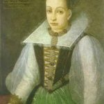 """La condesa húngara Erzsébet Báthory a los 25 años, copia del único retrato que ella encargó, en 1585. Ha pasado a la historia por haber sido acusada y condenada de ser responsable de una serie de crímenes motivados por su obsesión por la belleza que le han valido el sobrenombre de la """"condesa sangrienta"""". Según algunas opiniones, los asesinatos atribuidos a la misma pudieron ser invenciones de sus enemigos en un contexto político muy complejo para buscar su perdición y muerte."""
