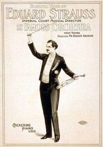 Un dibujo de Eduard Strauss (1835-1916) en un póster de un concierto. Fue mucho menos popular que su hermano Johann y siempre sintió celos de su fama y reconocimiento.