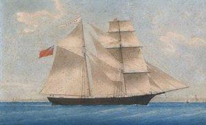 El navío fue construido en los astilleros de Joshua Dewis, situados en Spencer's Island, Nueva Escocia, y se botó con registro británico en 1861 con el nombre de Amazon (en la pintura).