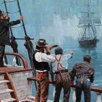 Representación de la tripulación del Dei Gratia avistando al Mary Celeste abandonado a su suerte.