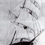 """Representación del Mary Celeste tal y como partió del puerto de Nueva York en noviembre de 1872. Se trataba de un bergantín goleta, con casco totalmente de madera y dos palos, con velas cuadras en el palo trinquete, velas de estay entre este y el mayor y escandalosa y cangreja en este último. Cuando se localizó a la deriva -en mejores condiciones que muchos de los barcos que cruzaban regularmente el Atlántico- la cabina del capitán fue hallada intacta y su pipa se encontraba lista sobre su mesita de noche, existiendo una tradición de la época que dice que """"ningún marino deja el barco sin su pipa""""."""