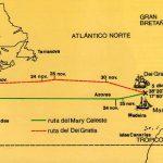 """Mapa que muestra las respectivas rutas del Dei Gratia (recibió su nombre en honor a la frase en latín que significa """"por la gracia de Dios"""") y del Mary Celeste durante noviembre y diciembre de 1872."""