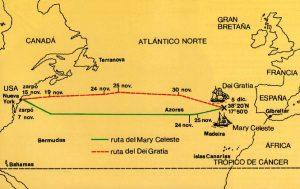 Mapa que muestra las respectivas rutas del Dei Gratia y del Mary Celeste durante noviembre y diciembre de 1872.