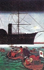 Asombro japonés ante los barcos europeos.