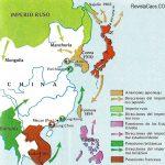 El mapa nos muestra el imperialismo en el este de Asia.