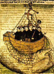 Grabado que ilustra el manuscrito de los viajes de san Borondón, abad de Clonfert (Irlanda).