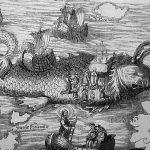 Grabado del momento en el que san Borondón desembarca en la isla a la que bautizaría con su nombre y donde celebra la misa de Resurrección.